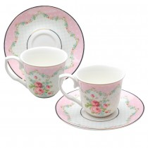 Pink Ashley Rose Espresso Cup Saucer, S/2 Boxed