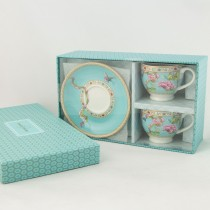 Turq Peony Espresso Cup Saucer, S/2 Boxed