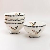 Black Chick Cereal Bowls, Set of 4
