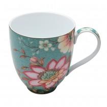 Teal Lotus Garden Mugs, Set of 4