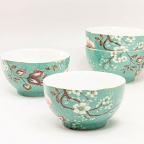 Green Peacock Lotus Garden Cereal Bowls, Set of 4