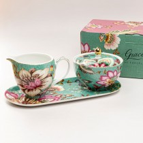 Green Peacock Lotus Garden Sugar Creamer Serving Tray Set, Gift Boxed