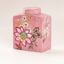 Pink Peacock Lotus Garden Lid Jar