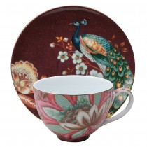 2 Assorted Pink Peacock Lotus Garden Latte Cup Saucer, Set of 4