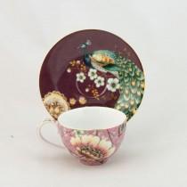 Pink Peacock Lotus Garden Tea Cup Saucer, Set of 4