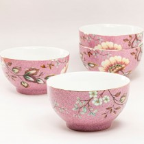 Pink Peacock Lotus Garden Cereal Bowls, Set of 4