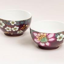 Pink Peacock Lotus Garden Tidbit Bowls, 4 Piece Set