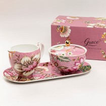 Pink Peacock Lotus Garden Sugar Creamer Serving Tray Set, Gift Boxed