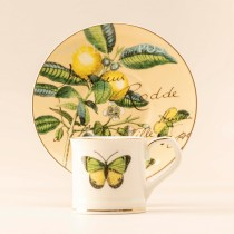 Butterfly Lemon Demi Cups and Saucers, S/4 Gift Boxed