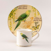 Tropical Parrot Demi Cups and Saucers, S/4 Gift Boxed