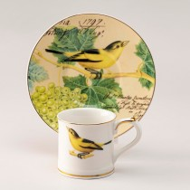 Yellow Bird Grape Demi Cups and Saucers, S/4 Gift Boxed