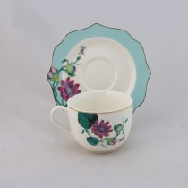 2 Assorted Peach/blue Tea Cups with Saucers, Set of 4