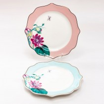 Pink and Blue Floral  Tree 6 in Plates, Set of 4