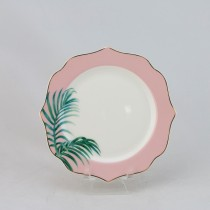 Floral and Palm Tree 6 in Plates, Set of 2
