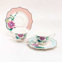 2 Assorted Peach/blue Floral Demi Cup Saucer, Set of 2 Gift boxed