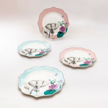 Elephanet  Pink and Blue Scallop  8 in Plates, Set of 4