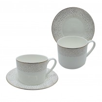 Stardust Bone China Cups with Saucers, Set of 4