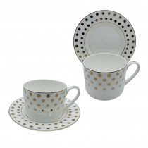 Polka Dots Bone China Cups with Saucers, Set of 4