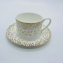 Square Confetti Bone China Cups with Saucers, Set of 4