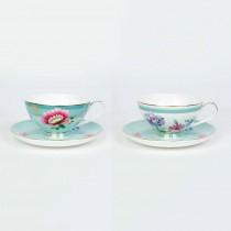 2 Asst Mint Floral Garden Tea Cup Saucer, Set of 4