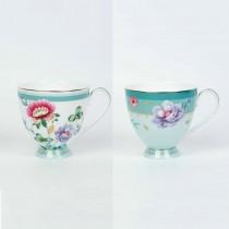 2 Asst Mint Floral Garden Footed Mugs, Set of 4