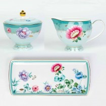 2 Asst Mint Floral Garden Garden Sugar Creamer Serving Tray Set, Gift Boxed