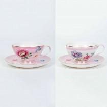 2 Asst Pink Floral Garden Tea Cup Saucer, Set of 4