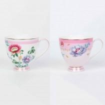 2 Asst Pink Floral Garden Footed Mugs, Set of 4