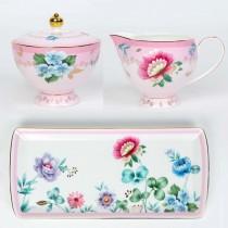 2 Asst Pink Floral Garden Garden Sugar Creamer Serving Tray Set, Gift Boxed
