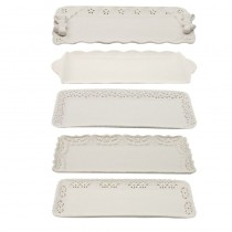 5 Assorted White Serving Trays, Set of 5