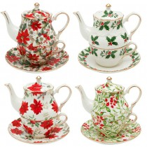 4 Assorted Christmas Patterns 4 Piece Tea for One