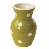 Grass Green White  Dots Vase