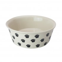 Fido's Diner Dog Bowl - Stoneware Black Paws. Set of 2 - Medium
