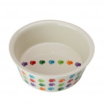 Fido's Diner Dog Bowl-Stoneware Multi Color Paws-Set of 4- Small