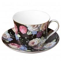 Dark Beauty Jumbo Cups and Saucers, Set of 4