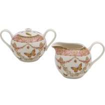 Pink Butterfly Sugar and Creamer Set