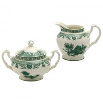 Green Toile Sugar Creamer Set