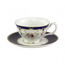 Navy Rose Teacups and Saucers, Set of 4