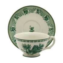 Green Toile Tea Cups and Saucers, Set of 4
