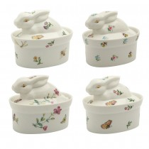 4 Assorted Spring Floral Bunny Boxes, Set of 4