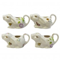 4 Assorted Spring Floral Bunny Creamers, Set of 4