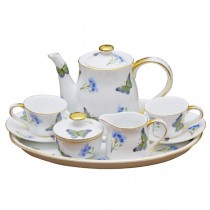 Blue Butterfly 10 Piece Kids Tea Set