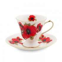 Poppy Tea Cups and Saucers, Set of 4