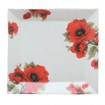 Poppy 8 Inch Square Platter - Set of 4