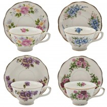 4 Assorted Vintage Floral Patterns Tea Cup Saucer, Set of 4
