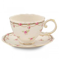 Petite Fluer Rose Cups and Saucers, Set of 4