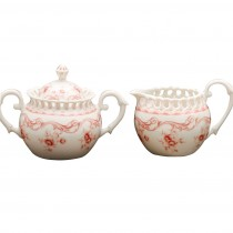 Pink Vine Sugar and Creamer Set