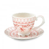 Pink Vine Tea Cups and Saucers, Set of 4