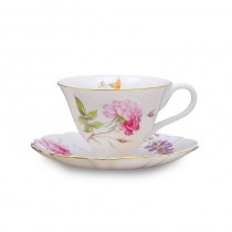 Dahlia Tea Cups and Saucers, Set of 4
