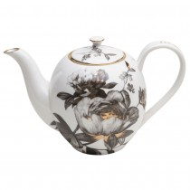 Black Gold Peony Tall Tea/Coffee Pot
